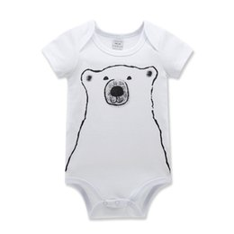 Wholesale Panda Dog Clothes - I in children's wear dog baby panda 0 and 1 year old baby clothing jumpsuit climb clothes white short-sleeved triangle ha garments 60 pcslot