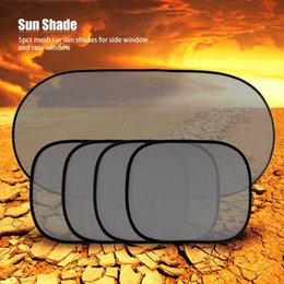 Wholesale Children Sunshades - Hot Sale 5Pcs Black Plain Car Window UV Mesh Sun Shades Blind Kids Baby Children Sunshade