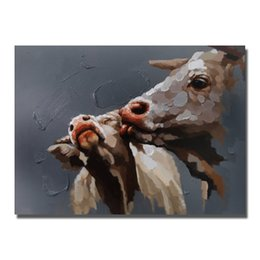 Wholesale Realistic Oil Painting - Hand painted realistic animal cow oil l panitng top quality decorative design pictures for living room