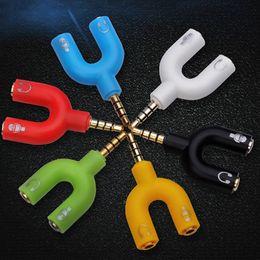 Wholesale Computer Headphone Splitter - 2 in 1 3.5mm Stereo Splitter Audio Earphone Headset Headphone 2 Way Splitter Microphone Adapter for Tablet Speaker iPod PC IPhone OTH509
