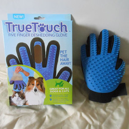 Wholesale Deshedding Tools - New Arrival Deshedding Pet Glove True Touch For Gentle And Efficient Grooming Removal Glove Bath Dog Cat Brush Comb with retail box 200pcs