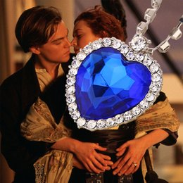 Wholesale Pendant Titanic - Crystal chain The Heart Of The Ocean Necklace luxurious heart diamond pendants Titanic necklaces for women movie statement jewelry 160573