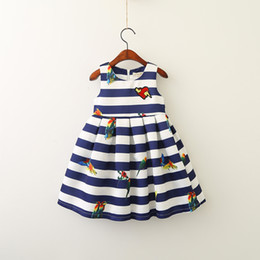 Wholesale Kids Cartoon Embroidery - 2017 Baby Girls Striped Dresses Kids Girls Embroidery Cartoon Dress Girl Princess Sleeveless Dress Baby Autumn Clothing