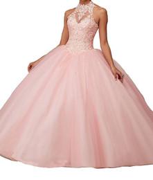 Vestido de baile nuevo personalizado Vestido largo sin espalda con escote halter sin mangas Vestido de quinceañera con encaje formal Tul rojo rosa desde fabricantes