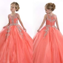 Wholesale Bridesmaid Rhinestone Shirts - 2017 Children Sell Orange Crystal Beads Pageant Dress Beauty Beautiful Bridesmaid Dresses O-neck Flower Grl Princess Dress