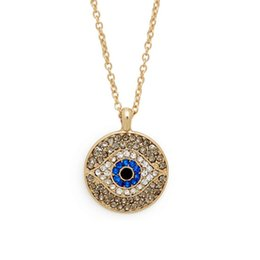 Wholesale Israel Necklace - Turkish blue crystal eye pendant hamsa necklace israel womens delicate clavicle chains islam jewelry gold color new fashion necklace