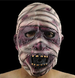 Wholesale Grudge Halloween Masks - Halloween Carnival activities pubs latex wig head mask face fear the devil   mummy   grudge Sadako curly faces tricky horn horn Skull Mask