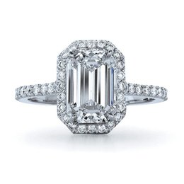 Wholesale Emerald Cut Engagement Rings - Amazing 1Carat Emerald Cut Synthetic Diamond Engagement Ring Genuine Solid Sterling Silver Ring