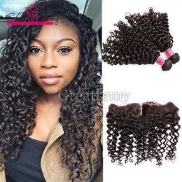 weave frontals Promo Codes - 2pcs Mink Brazilian Deep Curly Wave Hair Bundles with Lace Frontal Closure 13x4 Greatremy Natural Virgin Human Hair with Ear to Ear Frontals