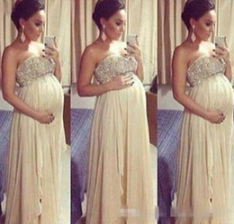 Wholesale Sexy Dresses For Pregnant Women - Long Maternity Sexy Backless Prom Dresses 2017 For Pregnant Woman A Line Beaded Top Sweetheart Floor Length Chiffon Formal Evening Dress