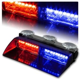 Wholesale Strobe Emergency Warning - Red & Blue 16 LED High Intensity LED Law Enforcement Emergency Hazard Warning Strobe Lights For Interior Roof   Dash   Windshield With Sucti