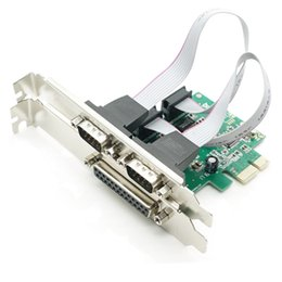 Wholesale Port Chip - Wholesale- 2 PORTS RS-232 Serial Port COM & DB25 Printer Parallel Port LPT to PCI-E PCI Express Card Adapter Converter WCH382 Chip DB9 DB25