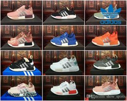 Wholesale Custom Rubbers - Adidas NMD Runner R1 Glitter Custom Black White Grey Pink Best Running Shoes For Women Originals nmds R2 XR1 Sport Shoes Trainer