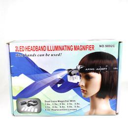 Wholesale Glass Headband Magnifier - NO.9892C Multifunctional 2 Led 6X Headband Illuminating Magnifier With Portable Eye Glasses Style Loupe
