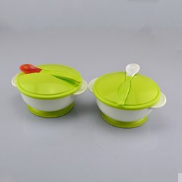 Wholesale Gravity Bowl - Baby Sucker Bowl Spoon Set Tableware Dishes Gravity Bowl Slip-Resistant Wall Suction,Ears Covered With Spoon,Training Bowl A1706264
