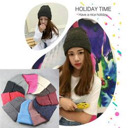 Wholesale Basic Hats - Crochet Winter Top Hat Wholesale Beanies Plain Color Basic Style Woman Man Warm Kint Bucket Hats 12 Color Available