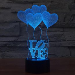 Wholesale Bulb Switch - 3D Visual Bulb Optical Illusion Colorful LED Table Lamp Touch Romantic Holiday Night Light Love Heart Wedding Gifts