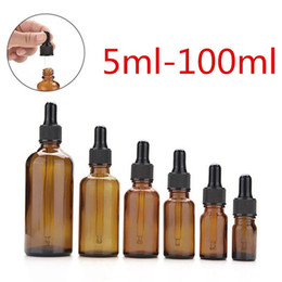 Wholesale Perfume Glass - Amber Glass Liquid Reagent Pipette Bottles Eye Dropper Aromatherapy 5ml-100ml Essential Oils Perfumes bottles wholesale free DHL