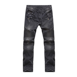 denim fabric washing Promo Codes - Wholesale-Men's Fashion Runway Distroyed Distressed Slim Stretch Biker Washed Jeans men denim trousers biker jeans male denim fabric