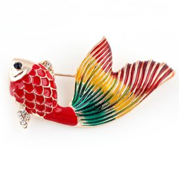 Wholesale Christmas Pins For Cheap - Wholesale- Gold Plated Fish Brooch Cheap Christmas Brooches For Women Wedding Bouquets Collar Clip Scarf Buckle Hijab Pins