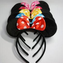 Wholesale Mouse Hairband - Cute headwear mouse ears Bow Headband Hairband lovely birthday favors Elegant Hair Bands Holder Hoop headwear hair accessories