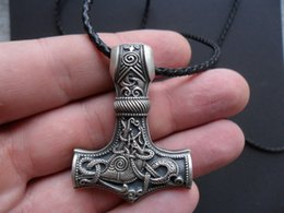 Wholesale huge pc - Wholesale- 1 pcs Huge Thor hammer Mjolnir Viking Amulet Hammer Scandinavian Pendant Norse Jewelry