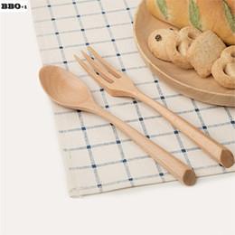 Wholesale Travel Flatware Set - New 2pcs 7.5'' wooden spoon fork set Japanese Style Portable travel spoon fork Wood Flatware sets Students School Tableware set