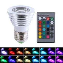 Wholesale Led Color Changing Bulb - LED RGB Bulb 3W 16 Color Changing 3W LED Spotlights bulbs E27 GU10 E14 MR16 GU5.3 led light Lamp 24 Key Remote