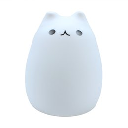 Wholesale Baby Breathing - 7-Color LED Light Sensitive Breathing Lovely Cat Lamp Soft Touch Night Light Baby Lamp USB Rechargable Christmas Gifts