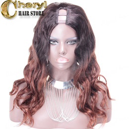Wholesale Ombre U Part Wigs - Ombre Brazilian human hair U part Wigs Glueless For Black Women 1*3 virgin hair u part lace wigs middle parting  Color 1BT #33