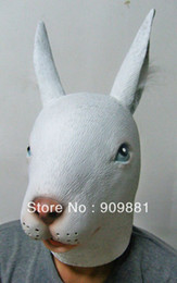 Wholesale Latex Rabbit Mask - Wholesale-100% Brand New Halloween Animal Mask Latex Rabbit Masks Fit Adult Size Realistic Rabbit Full Head Masquerade Party Cosplay Props