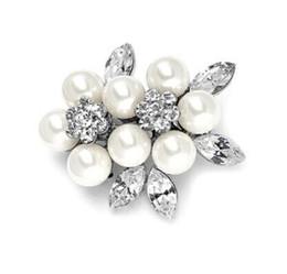 Wholesale Vintage Style Pearl Jewelry - Vintage Style Rhodium Silver Tone Clear Rhinestone Crystal Diamante Cream Pearl Wedding Bridesmaid Jewelry Brooch Pins