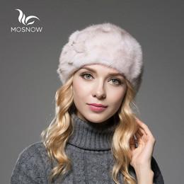Wholesale Genuine Mink Hat - Wholesale-MOSNOW 2016 Genuine Whole Mink Fur Winter Hats For Women Flower Luxury Solid Cap Female Winter Beret Boina Feminina
