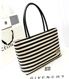 Wholesale Ladies Handbags For Sale - Hot Sale Casual Women's Handbags Large Capacity Shoulder Tote bags Striped Canvas Bags for Lady free shipping