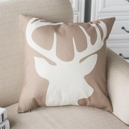 Wholesale Woven Textiles Wholesale - Hot Sale Pillow Covers Cushions Printed Deer Head Shadow Office Sofa Chair Home Textiles Pillowcase Without Pillow Core