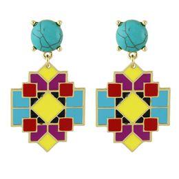 Wholesale Drop Coral Earring - Bohemian Earrings Cheap Jewelry Colorful Enamel Square Geometric Blue Stone Big Drop Women Earrings