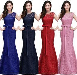 2019 designer elegante longos vestidos de noite Sereia Azul Royal Longo Vestidos de Baile 2018 Novo Designer de Renda Cheia Elegante Borgonha Vermelho Formal Vestidos de Noite Barato Dama de Honra Vestido CPS720 designer elegante longos vestidos de noite barato