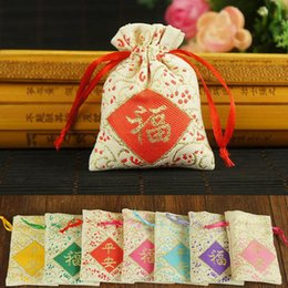 Wholesale Embroidery Jewelry Pouches - 6*8cm Mini Handmade Embroidery Patchwork Lucky Bag Drawstring Linen Jewelry Storage Pouches Tea Candy Package ZA4889