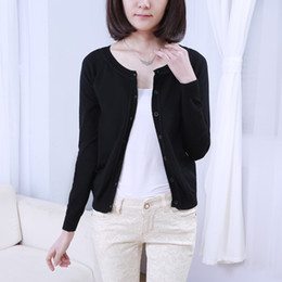 Wholesale Long Shirts For Women Simple - Wholesale- Simple Style Slim Cardigan Knitwear-shirt Solid Color Crochet Cardigan Jumper Long Sleeve Shrugs For Women