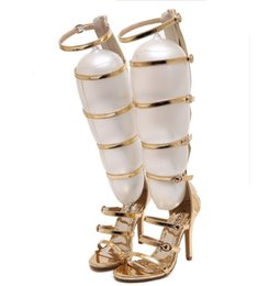 Wholesale Leather Cage - Wholesale-2016 fashion wedding party bridal knee high summer boots strappy gladiator roman sandals cage open toe stilettos gold pumps