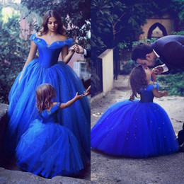 Wholesale Special Occasion Dresses For Kids - Royal Blue Crystals Flower Girl Dresses Special Occasion For Weddings Kids Pageant Gowns Off Shoulder Beaded Ball Gown Communion Dress