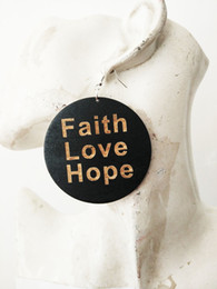 Wholesale Hope Black - free shipping Faith Love Hope black color wood earring