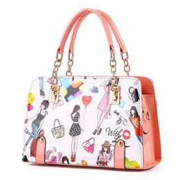 hands bag cartoons Coupons - Wholesale-Women Handbags 2016 New Fashion Summer Chain Ladies Hand Bags Cartoon Girl Printed Female Crossbody Bags Casual Tote sac a main