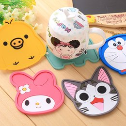 Wholesale Coffee Beverage Cup - Wholesale- Cute Chis cat melody doraemon tableware silicone Coaster coffee drink cup glass beverage bottles cup mat table heat Resistant
