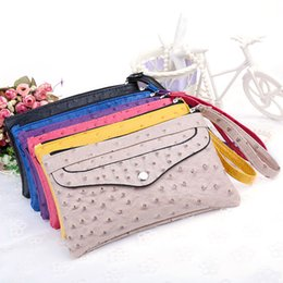 Wholesale Beige Hard Case Clutch - Wholesale-2016 New Colorful PU Leather Versatile Zipper Day Clutches Key Case Wallet Coin Purse Clutch Wallet Card Holder Evening Bag