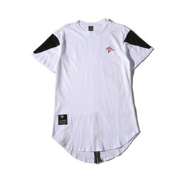 Wholesale Stylish White Shirts For Women - A stylish t-shirt tee zipper summer youth men and women short sleeve t-shirt hip-hop tide loose street dance long styles for men and women