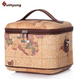 Wholesale Map Pattern Pu Leather - New Quality PU Leather Cosmetic Bag Fashion Map Pattern Styling Vanity Case Makeup Artist Dedicated Big capacity Storage Box