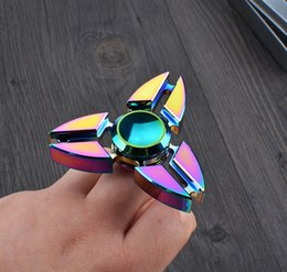 Wholesale Rainbow Choice - Fidget Spinner EDC Hand Spinner Fidget Toy Good Choice For Decompression Anxiety Finger Toys Rainbow Color Aluminum Hand Spinner