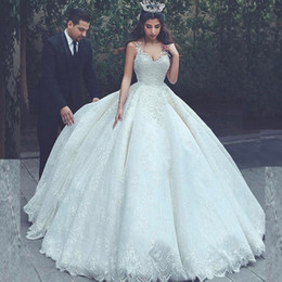Abrir costas vestidos de casamento corset on-line-vestido de bola rendas vestidos de noiva árabe Princesa inchado vestidos de casamento Vestido V Neck mangas Open Back Corset Appliqued nupcial