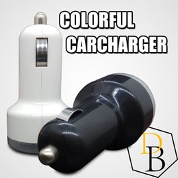 Wholesale Micro Usb 1a - 2 USB Colorful Car Charger Cigarette Port 5v 1A Micro auto power Adapter Dual USB for Apple samsung s7